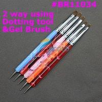 5 pcs 2 ways Steel Dotting Tool & UV Gel Brush Marbleizing Pen Nail Art Decorations Tools Retail Dropshipping SKU:G0066
