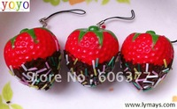 NEW chocolate strawberry Squishy Cell Phone Charm/free shipping