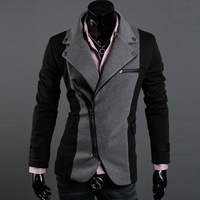 free shipping new suit for men irregular front design zip jacket contrast colorslimsuit linon jacket men black /grey M-XXL  0006