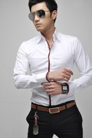 Free Shipping New Mens Casual Slim Fit Stylish Dress Shirts US 3Size XS,S,M, 3Colours Gray,White,Pink  0014