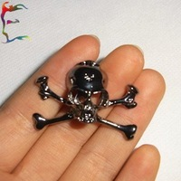 Wholesale fashion black skull skeleton brooch pin jewelry 24pcs/Lot casual cool promotion brooches jewelry free shipping