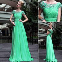 2014 new  Free shipping cheap  In stock  Green lace Swarovski Crystal  party   dresses long   prom dress