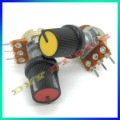 50pcs B10K  with potentiometer knobs 10K Ohm Liner Taper Potentiometer Pot Rotary +free shipping-10000414