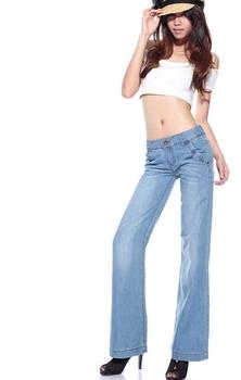Free shipping loose Feet Casual jean pants wide leg Women Trousers ladies high waist Light blue jeans,