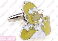 Fashion jewelry stores Designer Cufflinks for Men Freeshipping Simpson Cartoon Yellow Mens Cufflink  tie clip Accessories