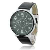 Stylish Simple Round Stainless Case PU Leather Band Quartz Movement Wrist Watch - Black 50971 free shipping