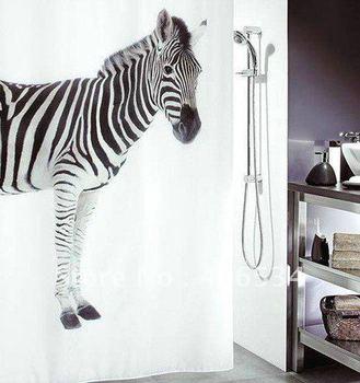 Free shipping Black & White Zebra Design Bathroom Fabric Waterproof Shower Curtain( Designed by Switzerland) 020106
