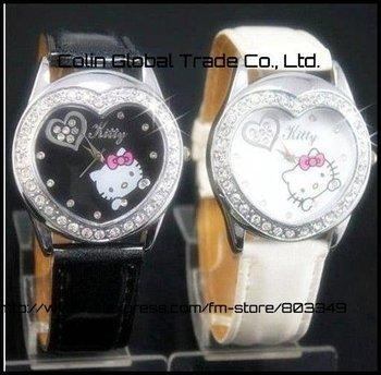 2013 new women children Hello Kitty leather belt drill  heart shape ladies watch, best gift for girls dress watch free shipping