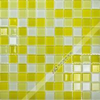 [Colorful Mosaic] Wholesale Glossy Yellow And White Mixed Glass Wall Mosaic Tile QA002