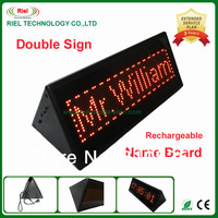 [Hot Sale]LED Desk Board Double Panel Meeting card Moving Display Message Sign,1pcs/lot/Rechargeable+Global Language/16x64/310mm
