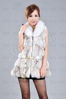100% Genuine Real Fox fur Vest/Waistcoat/ Jacket / Gilet/Clothing Womens Winter Vintage