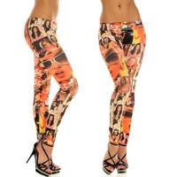 2014 top direct selling novelty women leggings sexy jeans-leggings tat too-prints jeggings star portrait skinny leggins jeggings