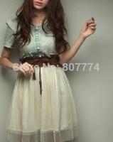 Add Dark Blue!New 2014 Women Summer Dress Short Sleeve Denim Dress Women Vintage Dress Ball Gown Jeans Dresses With Belt #4014