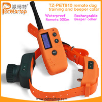 Free shipping~Remote Training and Beeper collar TZ-PET910+Waterproof+Rechargeable+TPU material+500 meters remote range