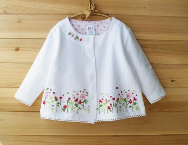 Вышивка на детской вязаной одежде своими