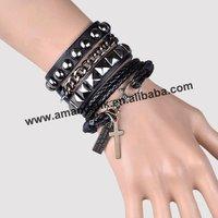 100pcs/lot, fashion bracelet,new cross pendant punk style leather bracelet,3 colors available,cool unisex bracelet.