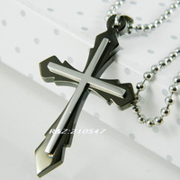 Fashion Pendant 316l Stainless Steel Double cross Necklace Pendant 316L Stainless Steel Jewelry  DZ048