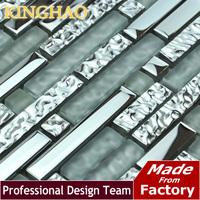 2014 New Arrival [kinghao] Super Deals Strip Glass Tile Silver Color Home Improvement Decorative Kitchen Backsplash Subway Gml03