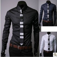 Free Shipping New Men's Shirts,Men's Leisure Shirts,Casual Slim Fit Stylish Dress Shirts Color:Navy,Black,White Size:M-XXXL
