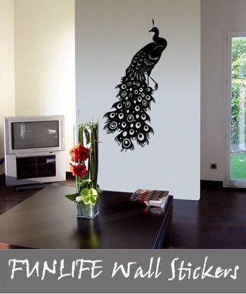 [funlife]-1pc drop ship 56x120cm PEACOCK Murals Brid Nature Vinyl Wall Sticker(China (Mainland))