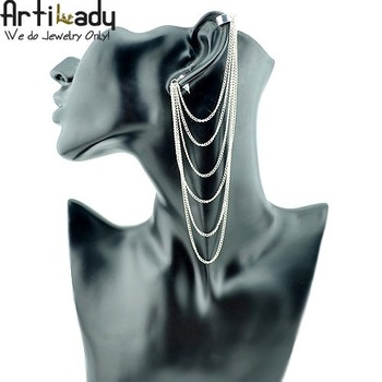 Artilady AEA1203011 silver plated chain style ear cuffs earrings jewelry 3 colors brithday gift 2013 new arrivre