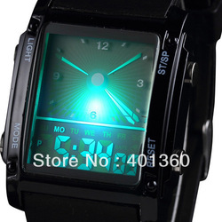 100% New and high quality Fashion designed Double Movts Colorful LED Analog and Digital Men Unisex Wrist Watch(China (Mainland))