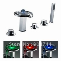 Freeshipping Chrome Color Changing LED Tub Faucet with Hand Shower