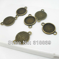 50pcs/lot Vintage Round Cabochon Settings Jewelry Connectors 12mm Antique Bronze Jewelry Blanks Fit Diy Jewelry Making A1303