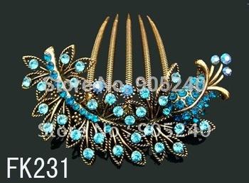 Wholesale vintage fashion Women's elegant flower pattern rhinestone hair comb hair pin hair clip ,Free shipping