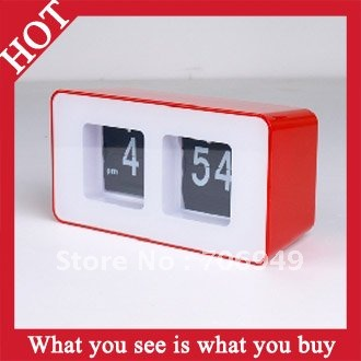 Free Shipping 4pcs Creative Table Automatic Flip Clock Retro File Down Page Clock -- CLK04 Wholesale