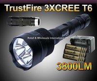 Super Bright Trustifre XM-L 3*T6 3800Lumen CREE LED Flashlight/Torch+ 3pcs 4000mah battery+AC charger