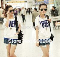 Korea Fashion Short Sleeve Off Shoulder Women's 2 Pcs Vest + T-Shirt Set free shopping 5126