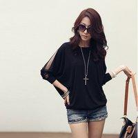 Free shipping Fashion Women's Trendy three quarter  Sleeve Loose T-Shirt Batwing Tops Blouses#5102
