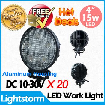 Free shipping 12V 24V 1200 Lumen 20 X 15W LED Work Lamp Light Waterproof Boat Marine Deck Truck tractor offroad Fog light kit