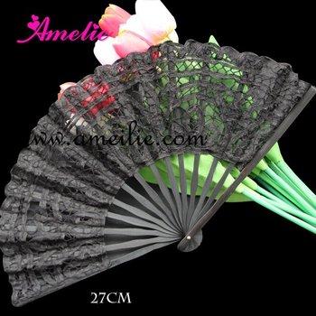 Wholesale - 5 pcs lot Handmade black Battenburg embroidery Gothic lace Fan