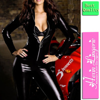 Free Shipping Wholesale Fashion Wet Look Front Open Bodysuit 1268 Sexy Lingerie Womens' Clubwear PVC Leather Catsuit  Dress