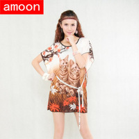Amoon / Free Shipping / Women Summer Autumn Casual Sashes Print Cats Dress / Plus Size/ Brown Colors/ Ice Cotton/ Short Sleeve
