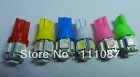 Hot SALE! 1000  X T10 wedge 5 led  W5W 5050 194 168 T10 5 smd  High Power Led Light Bulb-Red,Blue, White,Yellow,Green
