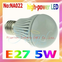 Wholesale AC 90V-265V E27 5W LED Lights with Epistar chip 3 year Warranty Free shipping #NA022