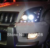 HID Projector Headlamp With LED DRL+Engel Eyes for Toyota Landcruiser Prado FJ120 2003-2009 LHD Free Shipping
