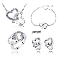 Wholesale Lots Christmas Double Heart Crystal Necklace Ring Bracelet Earrings Set Fashion Wedding Jewelry Sets 6 Colors