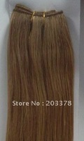 Light Brown 55cm 22inch 100% Indian human hair extensions  weft silk straight  #19