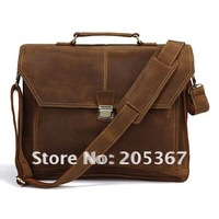 Crazy Horse Leather Men's Briefcase Laptop Handbag Messenger Bag #7083B