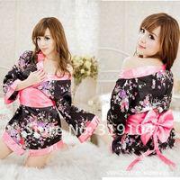 Free shipping Sexy Lingerie Kimono Dress Dress+G string+Band Set One Size Sleepwear,Underwear ,Uniform ,Kimono Costume