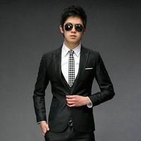 Free shipping 2014 New arrival good quality Men's suit Fashion one button suits Korean version leisure comfort Slim coat + pants
