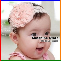 Sunshine store #2B2112 10pcs/lot baby Headbands hairband headwear big pink rose flowers elastic white chiffon headband CPAM(China (Mainland))