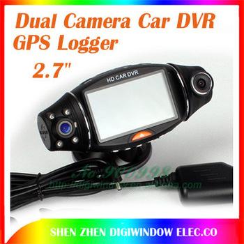 "NEW Dual Camera Car Video Recorder, 2.7""TFT LCD Screen +GPS-G-Sensor Car DVR SC310 Vehicle DVR Free Shipping"
