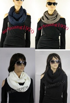 Wholesale 2013 New Style Chic Women's Fashion  Knit Warm Circle-Ring Spotty Loop Infinity Scarf/Shawl---Free shipping