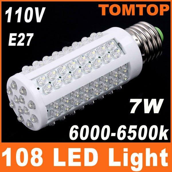 6000-6500k E27 110V 7W LED Light with 108 LED Bulb Corn light LED Lamp Drop shipping Free shipping 10pcs/lot Wholesale