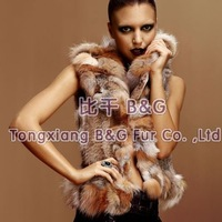 BG5923 Genuine Rabbit Fur Waistcoat With Fox Fur Collar Wholesale Retail Women's Fitted Fur Vest